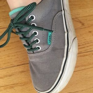 9d43b559bf Vans Shoes - VANS Era Grey   Electric Green Canvas Skate Shoes